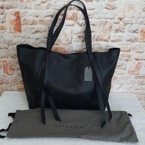 New All Saints Kathi E/W Studded Leather Tote Bag